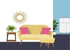Illustrazione di vettore di interior design Decorazione del salone mobilia del salotto Immagine Stock