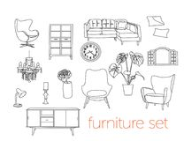 Illustrazione di vettore di interior design Mobilia del salone Illustrazione Vettoriale