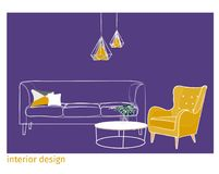 Illustrazione di vettore di interior design stile unico di artistico Fotografie Stock Libere da Diritti
