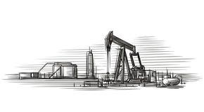 Illustrazione di vettore isolata estrazione dell'olio Fotografia Stock Libera da Diritti