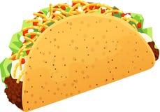 Illustrazione di vettore isolata taco croccante della carne tritata Fotografie Stock Libere da Diritti