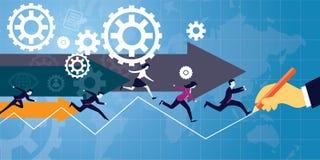 Illustrazione di vettore La curvatura e la holding asiatiche dell'uomo d'affari della concorrenza concept royalty illustrazione gratis