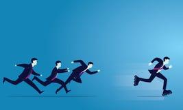Illustrazione di vettore La curvatura e la holding asiatiche dell'uomo d'affari della concorrenza concept Gli uomini d'affari spr royalty illustrazione gratis