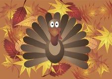 Illustrazione di vettore La Turchia sui precedenti delle foglie di autunno Immagini Stock Libere da Diritti