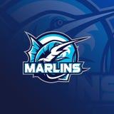 Illustrazione di vettore di logo della mascotte di pesca illustrazione di stock