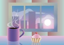 Illustrazione di vettore Mattina Agglutini con una tazza di caffè sui precedenti della finestra Immagine Stock