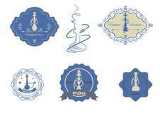 Illustrazione di vettore messa emblemi del narghilé Fotografia Stock