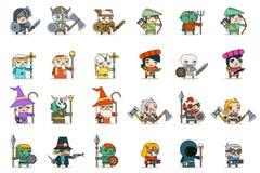 Illustrazione di vettore messa icone femminili maschii di vettore del carattere del gioco di RPG di fantasia di Lineart royalty illustrazione gratis