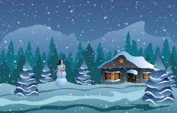 Illustrazione di vettore Natale La casa in neve, alberi e pupazzo di neve Immagini Stock Libere da Diritti