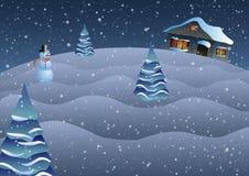 Illustrazione di vettore Natale La casa su una collina, sugli alberi e sul pupazzo di neve Fotografia Stock Libera da Diritti