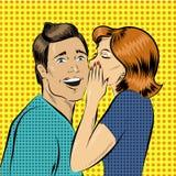 Illustrazione di vettore nel bisbiglio della donna di stile di Pop art ad un uomo Fotografia Stock