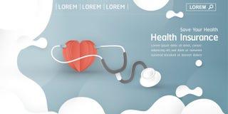 Illustrazione di vettore nel concetto di assicurazione malattia La progettazione dell'elemento del modello ? su fondo blu pastell royalty illustrazione gratis