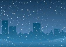 Illustrazione di vettore Neve di caduta sui precedenti della città Fotografie Stock