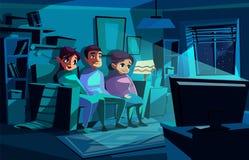 Illustrazione di vettore di notte di sorveglianza della famiglia TV illustrazione di stock