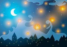 Illustrazione di vettore Nuovo anno cinese Lanterne su una città di notte Immagini Stock
