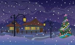 Illustrazione di vettore Nuovo anno La strada al villaggio nelle montagne e nella neve Fotografia Stock Libera da Diritti