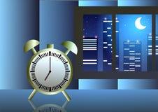 Illustrazione di vettore Orologio nella sera alla finestra Fotografia Stock Libera da Diritti