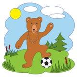 Illustrazione di vettore Orso con un pallone da calcio Immagini Stock