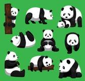 Illustrazione di vettore di Panda Bear Nine Poses Cartoon Fotografia Stock