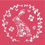 Illustrazione di vettore di Pasqua con il coniglietto decorato nel cerchio del fiore Fotografia Stock Libera da Diritti