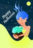 Illustrazione di vettore per Halloween Strega che tiene un vaso delle pozioni in sue mani Fotografia Stock