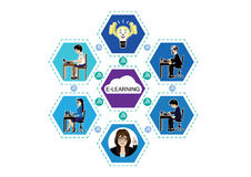 Illustrazione di vettore per l'e-learning e l'istruzione online Immagine Stock