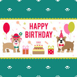 Illustrazione di vettore per progettazione del compleanno I cani celebrano la festa Fotografia Stock
