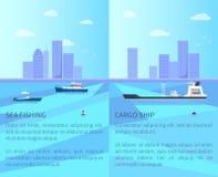 Illustrazione di vettore di pesca marittima e della nave da carico illustrazione vettoriale