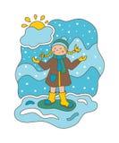 Illustrazione di vettore Illustrazione piana Ragazza e neve Inverno immagine stock