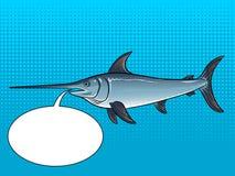 Illustrazione di vettore di Pop art del pesce spada Fotografia Stock