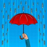 Illustrazione di vettore di Pop art della pioggia e dell'ombrello della bomba Fotografia Stock Libera da Diritti