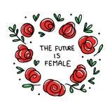 Illustrazione di vettore di potere della ragazza Il futuro è femminile - citazione ispiratrice disegnata a mano unica di potere d royalty illustrazione gratis