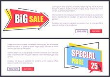 Illustrazione di vettore di prezzi speciali e di grande vendita illustrazione di stock