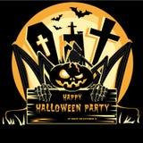 Illustrazione di vettore di progettazione del partito di Halloween del tabellone per le affissioni illustrazione di stock
