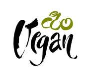 Illustrazione di vettore di progettazione di massima dell'alimento del vegano Iscrizione scritta a mano della spazzola per il ris Immagine Stock Libera da Diritti