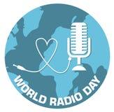 Illustrazione di vettore di progettazione di massima di giorno radiofonico del mondo illustrazione di stock