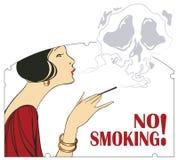 Illustrazione di vettore Proibizione di fumo Donna con un cigare Fotografia Stock
