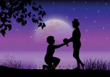 Illustrazione di vettore Proponga il matrimonio nell'ambito di luce della luna Fotografia Stock