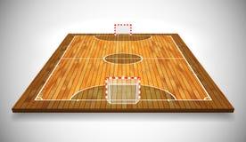 Illustrazione di vettore di prospettiva della corte o del campo di Futsal del legno duro Vettore ENV 10 Stanza per la copia royalty illustrazione gratis