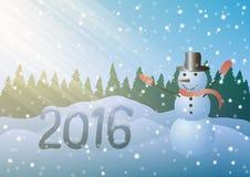 Illustrazione di vettore Pupazzo di neve 2016 del nuovo anno sui precedenti degli alberi di Natale Fotografia Stock Libera da Diritti