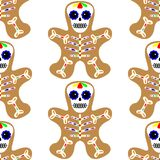 Illustrazione di vettore Reticolo senza giunte L'uomo di pan di zenzero ha decorato la glassa colorata Biscotto di festa nella fo illustrazione di stock