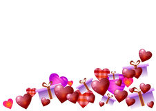 Illustrazione di vettore Rosa rossa Cuori e regali su fondo bianco Fotografia Stock