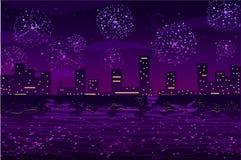 Illustrazione di vettore Saluti e fuochi d'artificio nella città di notte sull'oceano Fotografia Stock