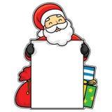 Illustrazione di vettore di Santa Claus felice che tiene un bordo bianco con i regali immagini stock