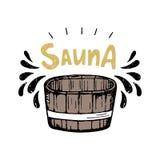 Illustrazione di vettore di sauna Secchio e spruzzo di legno illustrazione vettoriale