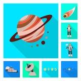 Illustrazione di vettore di scienza e del segno cosmico Metta del simbolo di riserva di scienza e tecnologia per il web illustrazione di stock