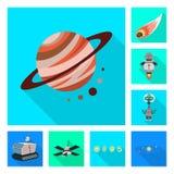 Illustrazione di vettore di scienza e del simbolo cosmico Metta dell'icona di vettore di scienza e tecnologia per le azione illustrazione vettoriale