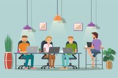 Illustrazione di vettore di spazio coworking Posto di lavoro, ufficio P royalty illustrazione gratis