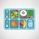 Illustrazione di vettore Stile piano Sacco di carta e mela Alimento sano per gli studenti Immagine Stock Libera da Diritti