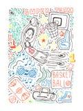 Illustrazione di vettore di stile di scarabocchio di pallacanestro Manifesto, progettazione della copertura, colorpage royalty illustrazione gratis
